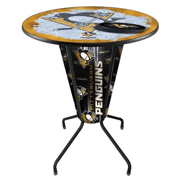 "Holland Bar Stool L218B42PitPen36RPitPen-D2 Pittsburgh Penguins 36"" Round Bar Height LED Pub Table"