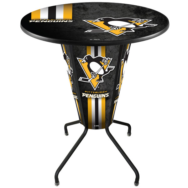 "Holland Bar Stool L218B42PitPen36RPitPen-D2 Pittsburgh Penguins 36"" Round Bar Height LED Pub Table Main Image 1"