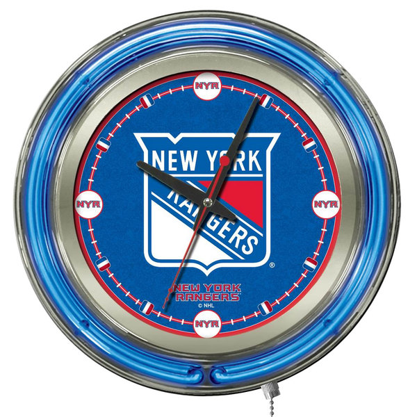 "Holland Bar Stool Clk15NYRang New York Rangers 15"" Neon Clock Main Image 1"