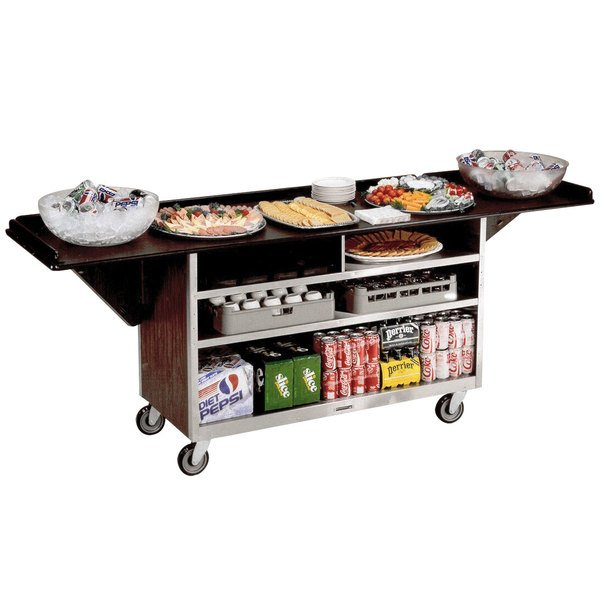 "Lakeside 676 Stainless Steel Drop-Leaf Beverage Service Cart with 3 Shelves and Walnut Vinyl Finish - 61 3/4"" x 24"" x 38 1/4"""