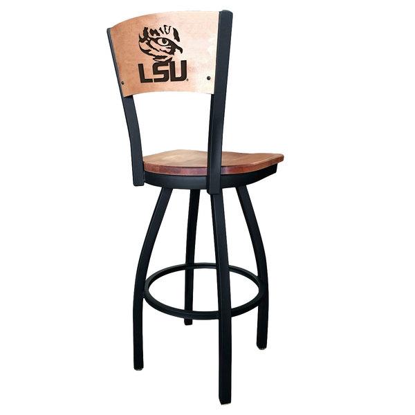 Holland Bar Stool L03830BWMedMplALaStUnMedMpl Black Steel Louisiana State University Laser Engraved Bar Height Swivel Chair with Maple Back and Seat