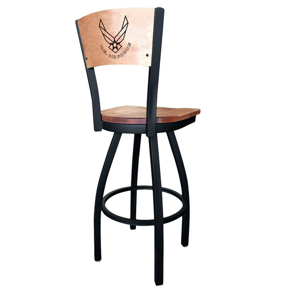 Holland Bar Stool L03830BWMedMplAAirForMedMpl Black Steel United States Air Force Laser Engraved Bar Height Swivel Chair with Maple Back and Seat Main Image 1