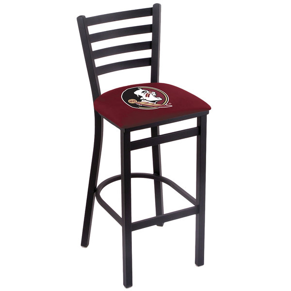 Holland Bar Stool L00430FSU-HD Black Steel Florida State University Bar Height Chair with Ladder Back and Padded Seat Main Image 1