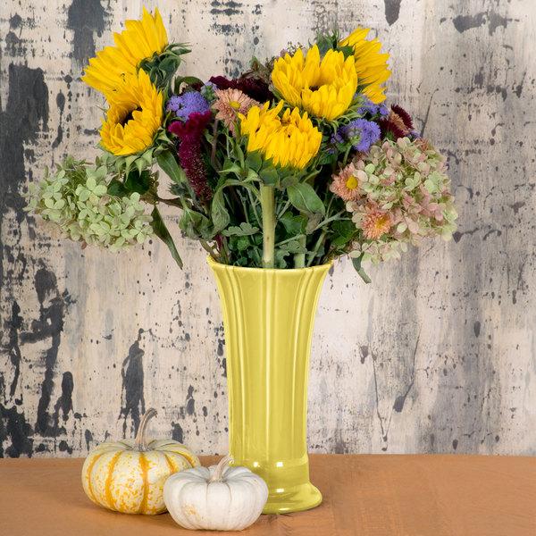 "Homer Laughlin 491320 Fiesta Sunflower 9 5/8"" Medium Vase - 4/Case"