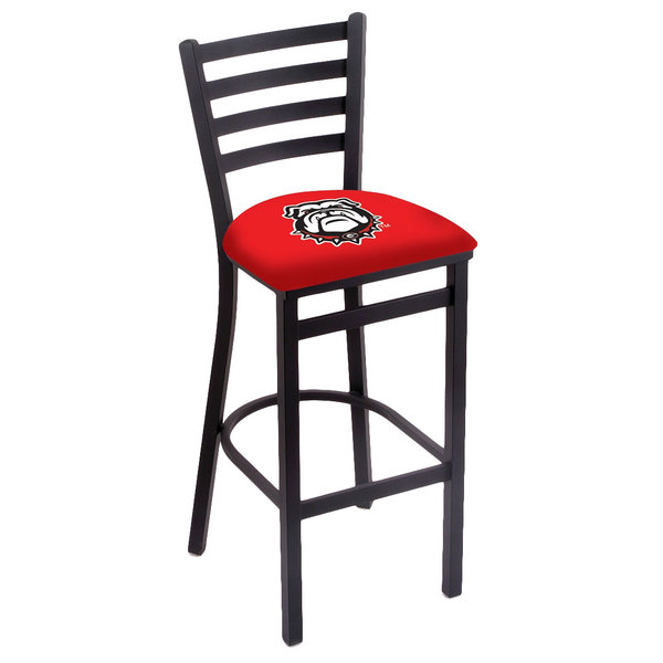 Holland Bar Stool L00430GA-Dog Black Steel University of Georgia Bar Height Chair with Ladder Back and Padded Seat