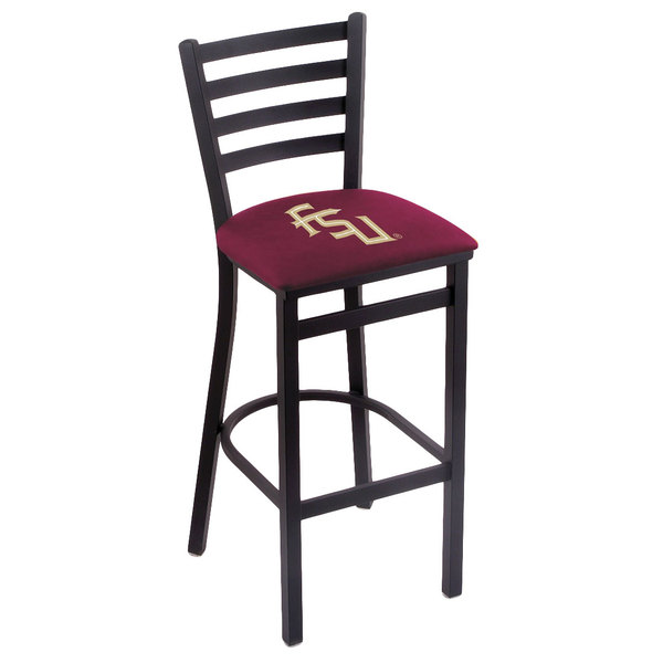 Holland Bar Stool L00430FSU-FS Black Steel Florida State University Bar Height Chair with Ladder Back and Padded Seat