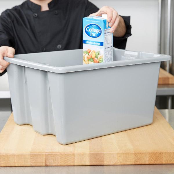Rubbermaid FG172100GRAY Gray Palletote Box - 1.3 cu. ft