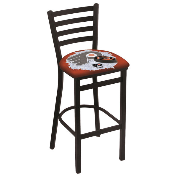 Holland Bar Stool L00430PhiFly-O-D2 Black Steel Philadelphia Flyers Bar Height Chair with Ladder Back and Padded Seat