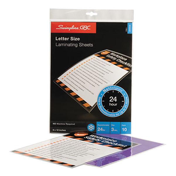 "Swingline GBC 3747410 SelfSeal 12"" x 9"" Clear No Mistakes Self-Adhesive Laminating Sheet - 10/Pack Main Image 1"