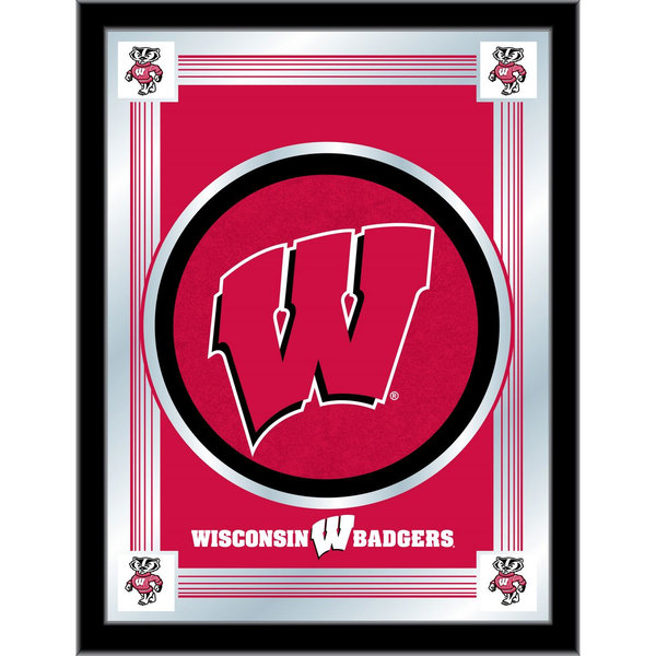 "Holland Bar Stool MLogoWisc-W 17"" x 22"" University of Wisconsin Decorative Logo Mirror"