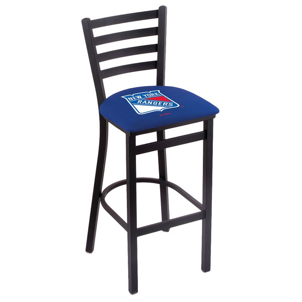 Holland Bar Stool L00430NYRang Black Steel New York Rangers Bar Height Chair with Ladder Back and Padded Seat Main Image 1