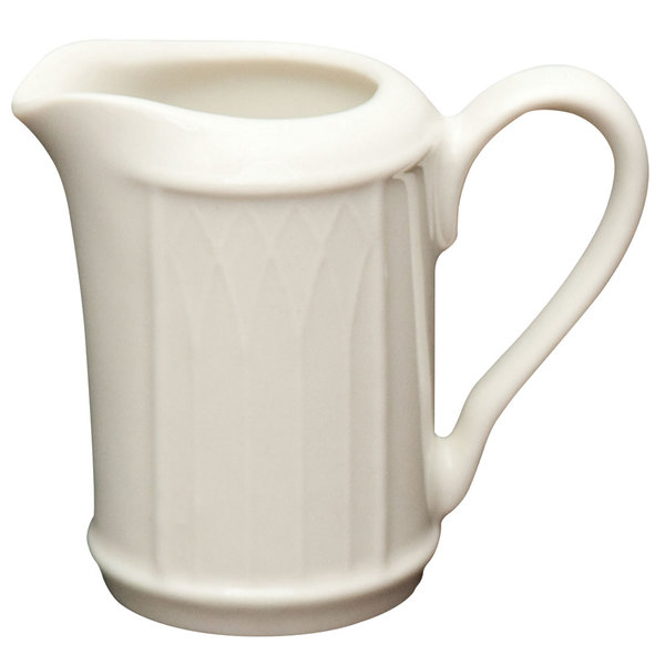 Homer Laughlin 427000 Gothic 7.75 oz. Ivory (American White) China Creamer - 36/Case
