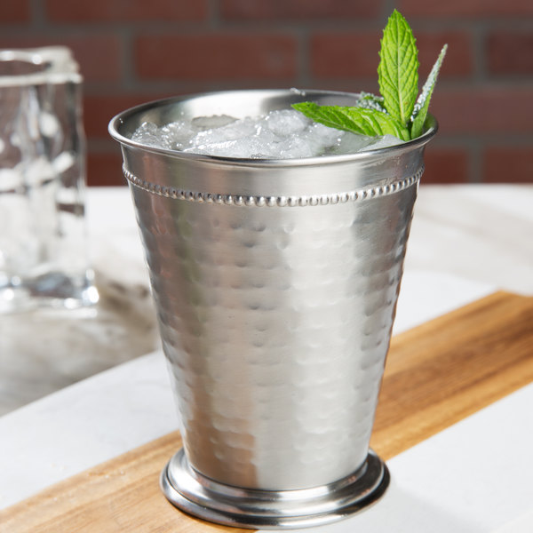 Core 16 Oz Stainless Steel Mint Julep Cup With Hammered Finish And