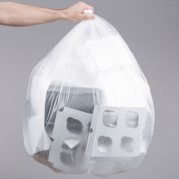 "56 Gallon 16 Micron 43"" x 48"" Lavex Janitorial High Density Can Liner / Trash Bag - 200/Case"