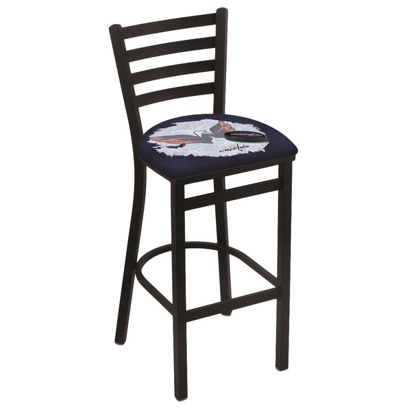 Holland Bar Stool L00430WshCap-D2 Black Steel Washington Capitals Bar Height Chair with Ladder Back and Padded Seat
