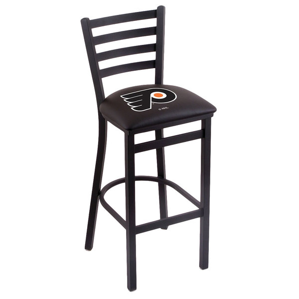 Holland Bar Stool L00430PhiFly-B Black Steel Philadelphia Flyers Bar Height Chair with Ladder Back and Padded Seat Main Image 1