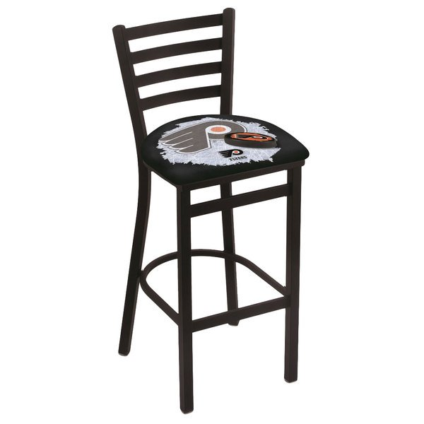 Holland Bar Stool L00430PhiFly-B-D2 Black Steel Philadelphia Flyers Bar Height Chair with Ladder Back and Padded Seat