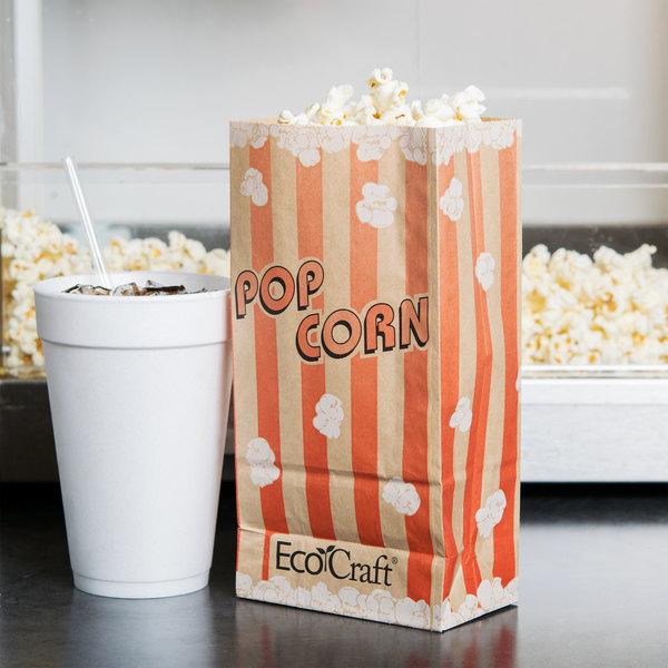"Bagcraft Papercon 300611 4 1/4"" x 2 1/2"" x 8 1/4"" 46 oz. EcoCraft Popcorn Bag - 1000/Case"