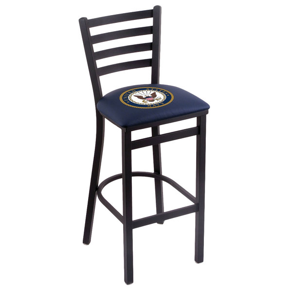 Holland Bar Stool L00430Navy Black Steel United States Navy Bar Height Chair with Ladder Back and Padded Seat