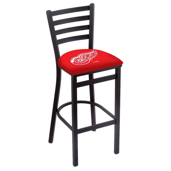 Holland Bar Stool L00430DetRed Black Steel Detroit Red Wings Bar Height Chair with Ladder Back and Padded Seat