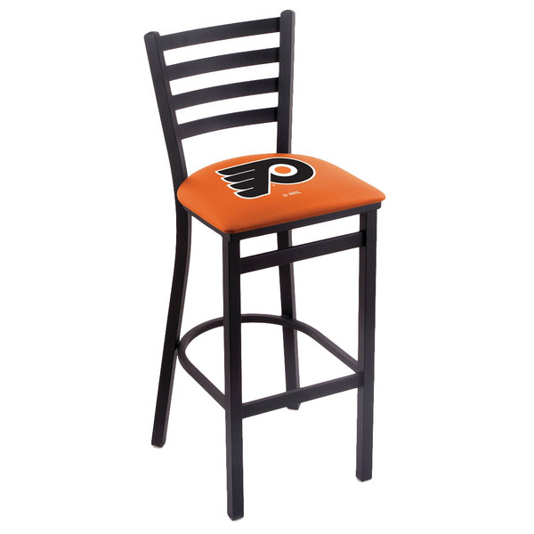 Holland Bar Stool L00430PhiFly-O Black Steel Philadelphia Flyers Bar Height Chair with Ladder Back and Padded Seat