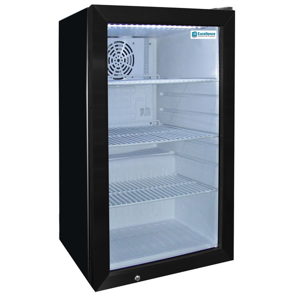 Excellence EMM-4S Black Countertop Display Refrigerator with Swing Door - 3.8 Cu. Ft.