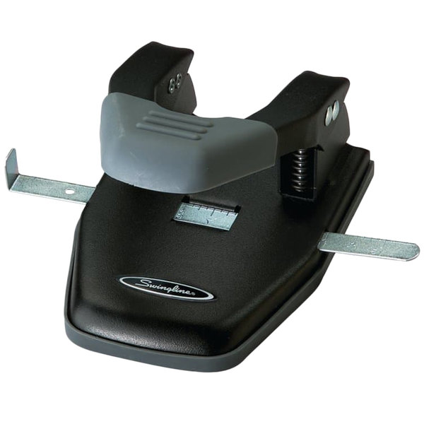 """Swingline 74050 28 Sheet Black and Gray Steel 2-7 Hole Punch with Comfort Handle - 1/4"""" Holes"""