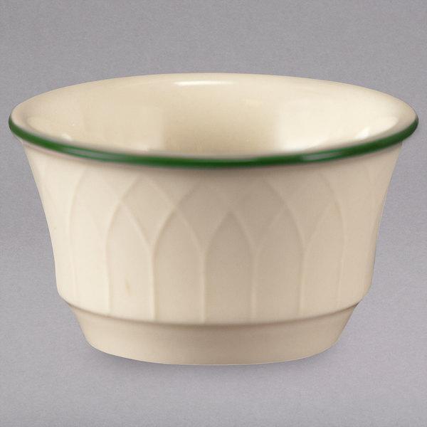 Homer Laughlin 1430-0146 Green Jade Gothic Off White 3.5 oz. Ramekin - 36/Case