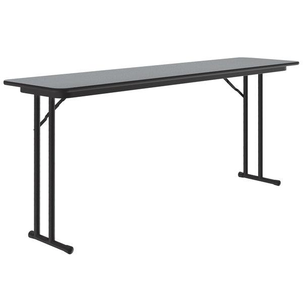 "Correll ST1896PX15 18"" x 96"" Rectangular Gray Granite High Pressure Folding Seminar Table with Off-Set Legs Main Image 1"