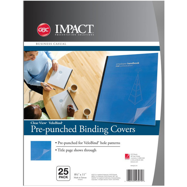 """Swingline GBC 9743070 VeloBind 11"""" x 8 1/2"""" Clear Pre-Punched Binding System Cover - 25/Pack Main Image 1"""
