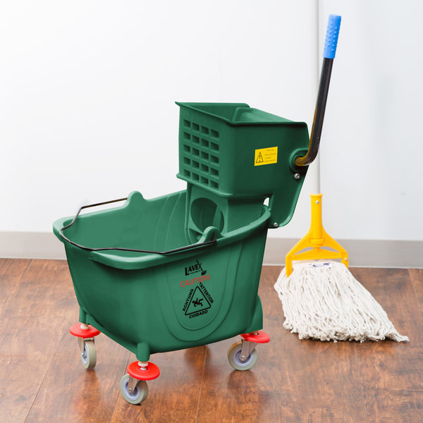 Lavex Janitorial 35 Qt. Green Mop Bucket & Side Press Wringer Combo