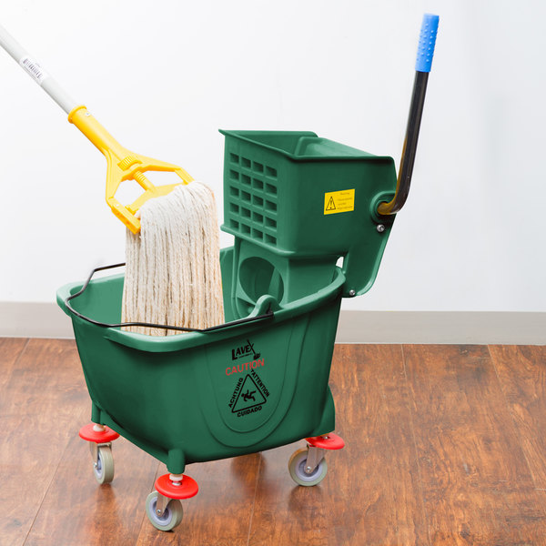 Lavex Janitorial 35 Qt. Green Mop Bucket & Side Press Wringer Combo Main Image 4