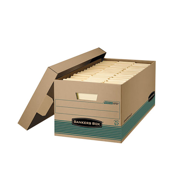"Fellowes 1270201 Banker's Box Stor/File 25 3/8"" x 15 7/8"" x 10 1/4"" Kraft Legal File Storage Box with Locking Lift-Off Lid - 12/Case"