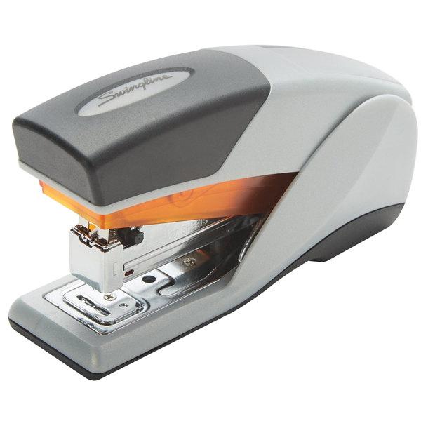 Swingline 66412 Optima 25 Sheet Gray / Orange Half Strip Reduced Effort Stapler