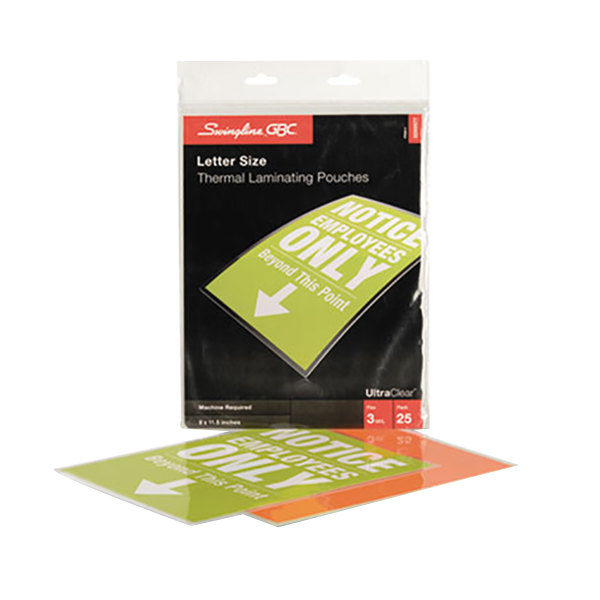"""Swingline GBC3200577B UltraClear 11 1/2"""" x 9"""" Letter Thermal Laminating Pouch - 25/Pack"""