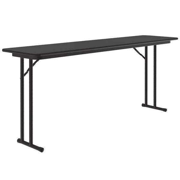 "Correll ST1896PX07 18"" x 96"" Rectangular Black Granite High Pressure Folding Seminar Table with Off-Set Legs Main Image 1"