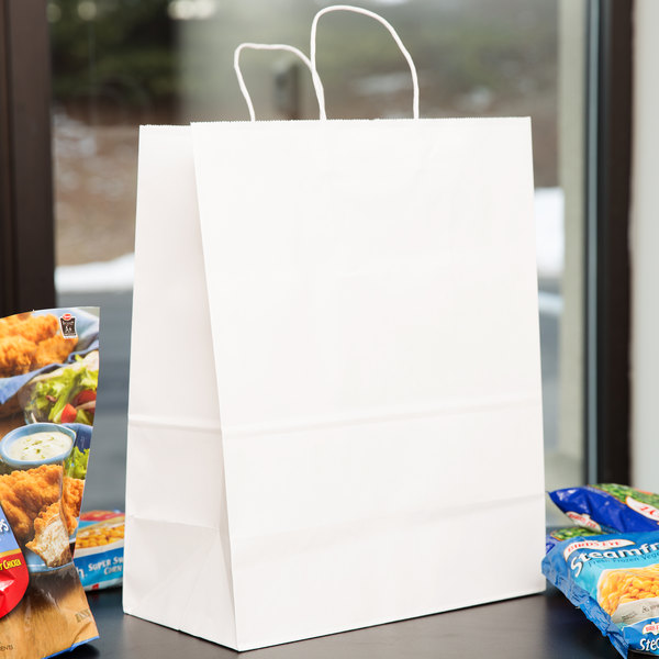 "13"" x 7"" x 17"" White Shopping Bag with Handles - 250/Bundle"