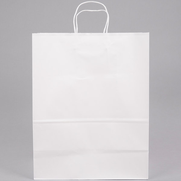 13 inch x 7 inch x 17 inch White Shopping Bag with Handles  - 250/Bundle