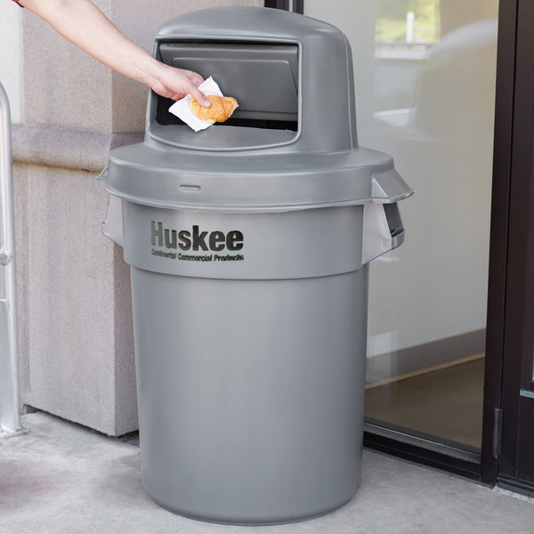 Continental Huskee 55 Gallon Gray Trash Can with Dome Top Lid