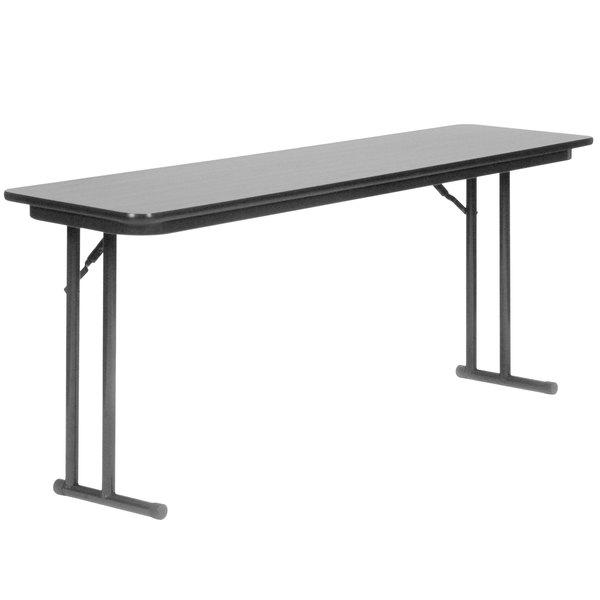 "Correll ST2460PX15 24"" x 60"" Rectangular Gray Granite High Pressure Folding Seminar Table with Off-Set Legs"