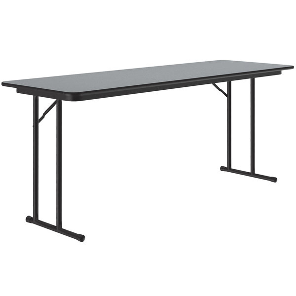 "Correll ST2460PX15 24"" x 60"" Rectangular Gray Granite High Pressure Folding Seminar Table with Off-Set Legs Main Image 1"