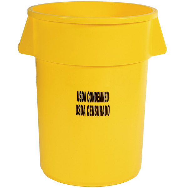 """Rubbermaid FG264346YEL Brute 44 Gallon Yellow """"USDA Condemned"""" Trash Can"""