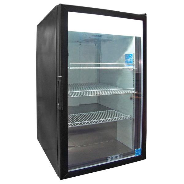 Excellence CTM-7 Heavy-Duty Black Countertop Display Refrigerator with Swing Door - 7 Cu. Ft.