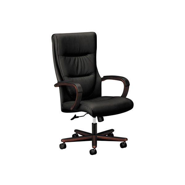 Hon Vl844nsb11 Basyx High Back Black Leather Executive Office Chair With Mahogany Swivel Base