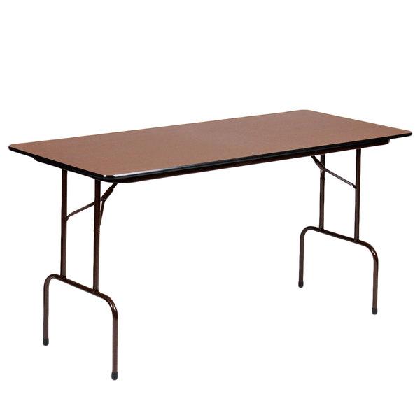 "Correll CF2460M01 24"" x 60"" Rectangular Walnut Light Duty Melamine Folding Table"