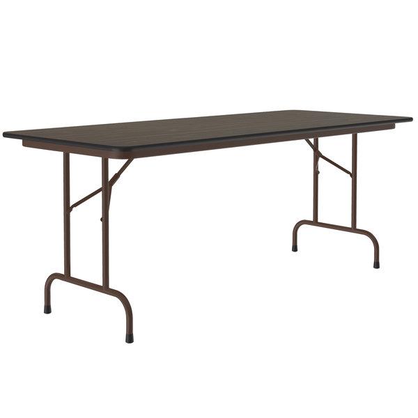 "Correll CF2460M01 24"" x 60"" Rectangular Walnut Light Duty Melamine Folding Table Main Image 1"