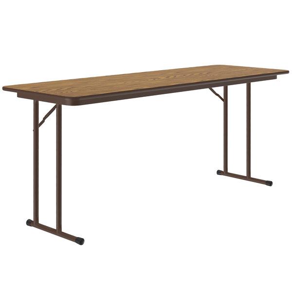 "Correll ST2472PX06 24"" x 72"" Rectangular Medium Oak High Pressure Folding Seminar Table with Off-Set Legs Main Image 1"