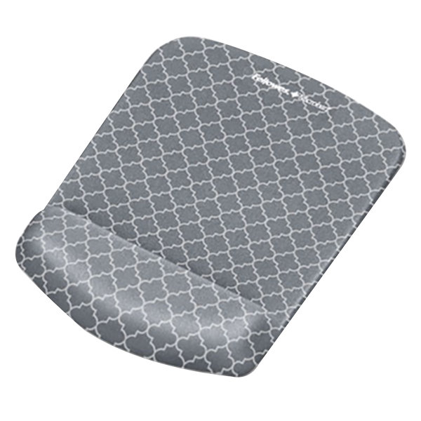 Fellowes 9549701 PlusTouch Gray / White Lattice Mouse Pad with Wrist Rest