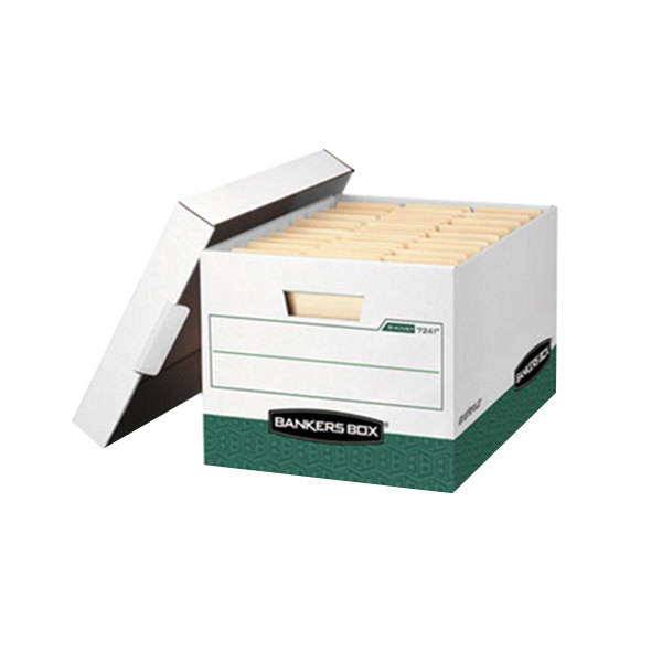 """Fellowes 07241 Banker's Box 16 1/2"""" x 12 3/4"""" x 10 3/8"""" R-Kive White/Green Letter / Legal File Storage Box with Locking Lid - 12/Case Main Image 1"""