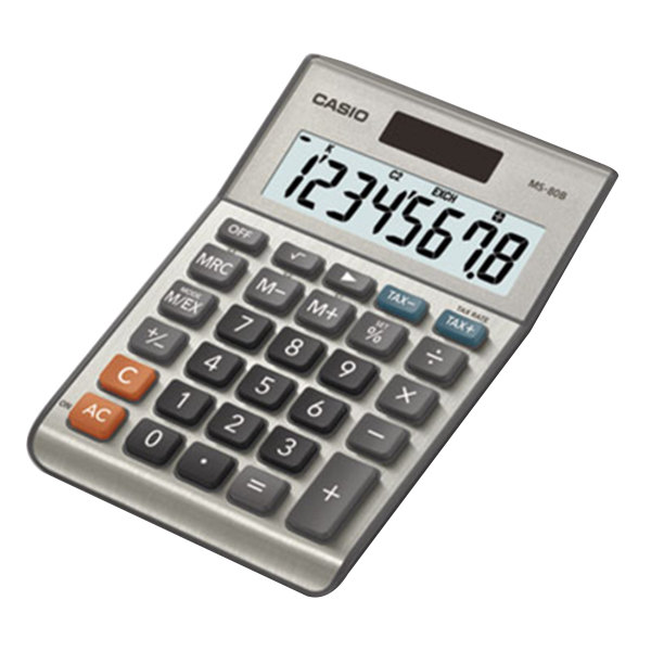 Casio MS80B 8-Digit LCD Solar / Battery Powered Tax and Currency Calculator